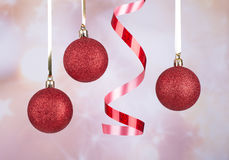 Red Christmas Balls and Ribbon Stock Image