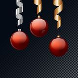 Red christmas balls with ribbon hanging and  background. Vector illustration. Royalty Free Stock Photography