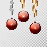 Red christmas balls with ribbon hanging and isolated background. Vector illustration. Royalty Free Stock Photos