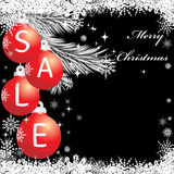 Red  christmas balls with sale. Red  christmas balls on  black background with sale Royalty Free Stock Photo