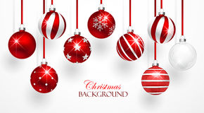 Red Christmas Balls Set Royalty Free Stock Photos