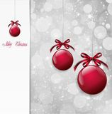Red Christmas Balls on shiny card. Vector Royalty Free Stock Photography
