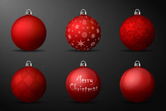 Red christmas balls with silver holders. Set of  realistic decorations on black background Stock Images