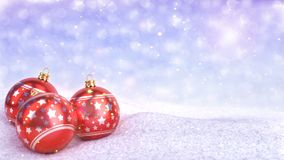Red christmas balls in snow on bokeh background - 3D render. Seamless loop stock video footage