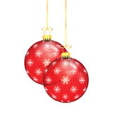 Red Christmas balls with snowflakes Stock Image