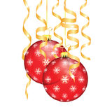 Red Christmas balls with snowflakes and serpentine Royalty Free Stock Images