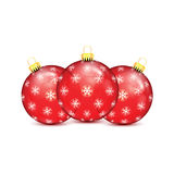 Red Christmas balls with snowflakes Stock Photography