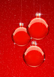 Red Christmas Balls with snowflekes Stock Image