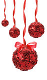 Red Christmas balls with sparkles isolated on the white backgrou Royalty Free Stock Image