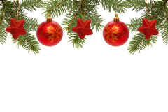 Red Christmas balls and stars. Royalty Free Stock Photo