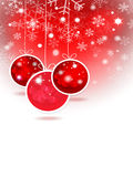 Red Christmas balls  and stars in the red background. Christmas Royalty Free Stock Image