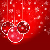 Red Christmas balls  and stars in the red background. Vector EPS Royalty Free Stock Photos
