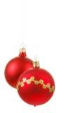 Red christmas balls on white Stock Image