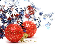 Red Christmas balls on a white background. Royalty Free Stock Images