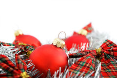 Red Christmas balls on white background Royalty Free Stock Image