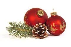 Red Christmas balls Stock Photo
