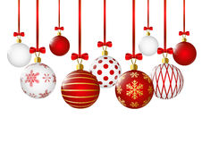 Red christmas balls on white Stock Photo