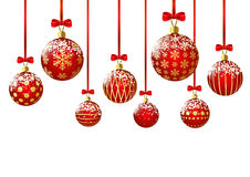 Red Christmas balls on white Royalty Free Stock Photo