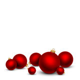 Red Christmas balls on white background. Vector illustration Stock Photography