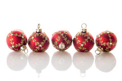 Red Christmas balls on white Royalty Free Stock Images