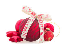 Red Christmas  balls on white Royalty Free Stock Image