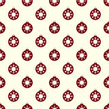 Red Christmas balls with white snowflakes seamless pattern Stock Photography