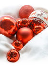 Red Christmas balls. Winter concept. Merry christmas card. Space Stock Photo