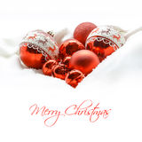 Red Christmas balls. Winter concept. Merry christmas card. Space for text. Stock Photos