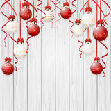 Red Christmas balls on wooden background vector illustration