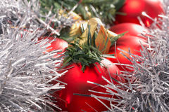 Red christmas balls and yellow ribbon Royalty Free Stock Image