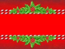 Red christmas banner. With holly leaves vector illustration