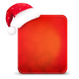 Red Christmas Banner With Santa Hat stock illustration