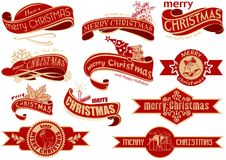 Red Christmas Banner Set. Typographic Luxury Design Elements for Greeting Cards and Graphic Design etc., Vector Illustration Royalty Free Stock Images