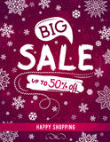 Red Christmas banner with snowflakes and sale offer, vector royalty free stock photos