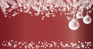 Red Christmas banner, white balls, spruce branches, snow. Christmas banner, white Christmas ball, spruce branches, snow on red background, space for text Royalty Free Stock Image