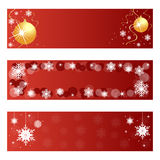 Red Christmas banners. Set of three red Christmas banners isolated on white background.EPS file available royalty free illustration