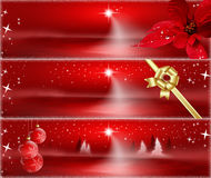 Red Christmas Banners Stock Image