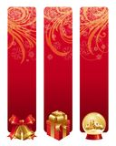 Red christmas banners Stock Images