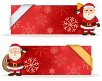 Red Christmas Banners with Santa Claus. Two red Christmas banners with a cute cartoon Santa Claus smiling and greeting, snowflakes and a ribbon. Eps file Royalty Free Stock Image