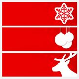 Red Christmas banners set. Banners with images of snowflakes, Ch. Ristmas balls, deer heads. The effect of paper with a shadow Royalty Free Stock Photos