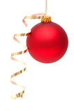 Red Christmas bauble. With ribbon on white background Stock Image