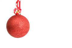 Red Christmas bauble. On white background Stock Photos