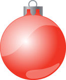 Red christmas bauble. Illustration of red christmas bauble, white background Stock Images