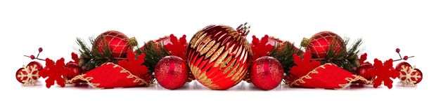 Red Christmas bauble border isolated on white Stock Images