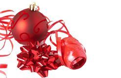 Red Christmas bauble with bow and ribbon Royalty Free Stock Photography