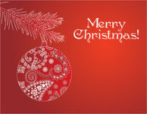 Red Christmas bauble card Stock Photo
