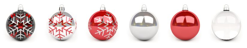 Redl christmas bauble collection 3D rendering. Red christmas bauble collection on white background 3D rendering Royalty Free Stock Photo