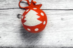 Red Christmas bauble decorated with a tree Royalty Free Stock Photography