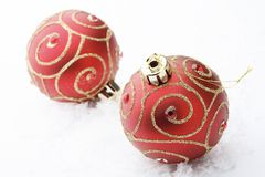 Red Christmas bauble decorations. Royalty Free Stock Images