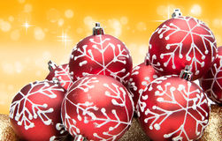 Red Christmas bauble decorations Stock Images